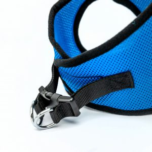 blue mesh step-in dog harness detail