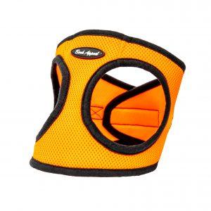 orange mesh step-in dog harness