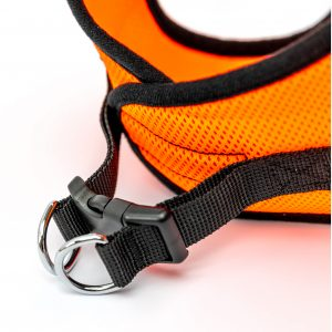orange mesh step-in dog harness detail
