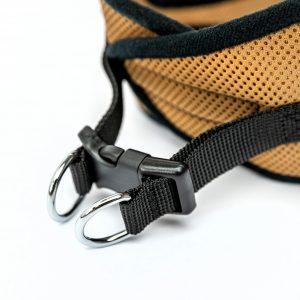 tan mesh step-in dog harness detail