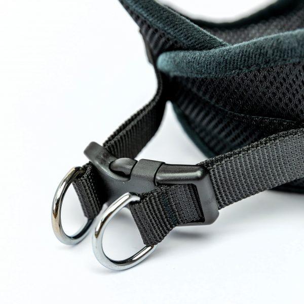 black mesh step-in dog harness detail