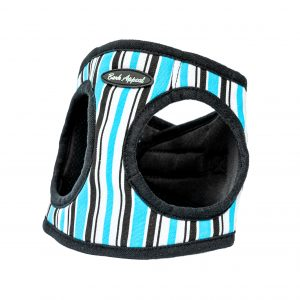 blue striped canvas step-in harness