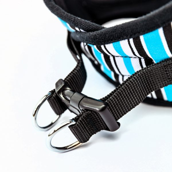 blue striped canvas step-in harness detail