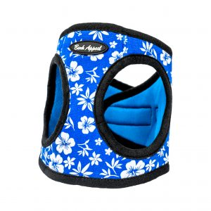 blue hibiscus step-in dog harness