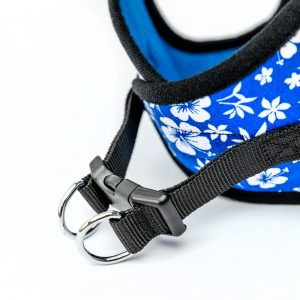 blue hibiscus step-in dog harness detail