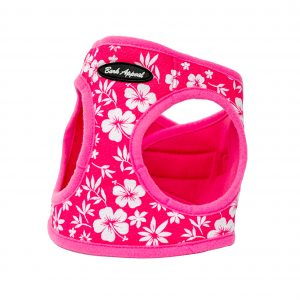 pink hibiscus step-in dog harness
