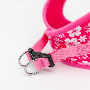 pink hibiscus step-in dog harness detail