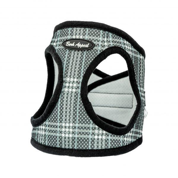 black plaid mesh pet harness