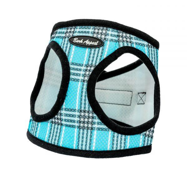 Bright blue plaid mesh dog harness