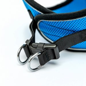 blue mesh reflective step-in dog harness detail