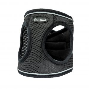black reflective mesh step-in dog harness