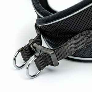 black reflective mesh step-in dog harness detail