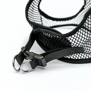 black netted step in dog harness detail