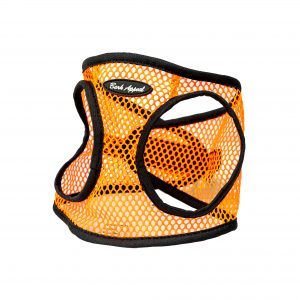 orange neon netted step in dog harness
