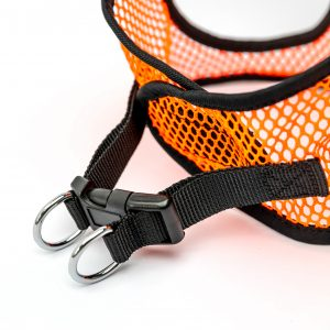 neon orange netted step in dog harness detail