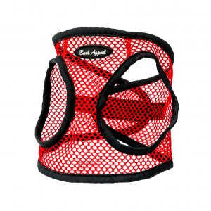 red netted step in dog harness