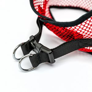 red netted step in dog harness detail