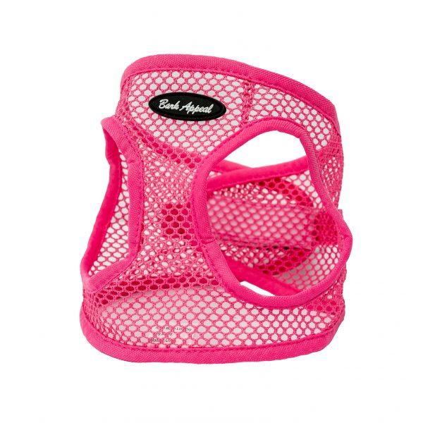 pink netted step in dog harness
