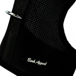 black wrap and go mesh dog harness detail