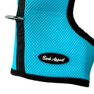 aqua blue wrap and go mesh dog harness detail