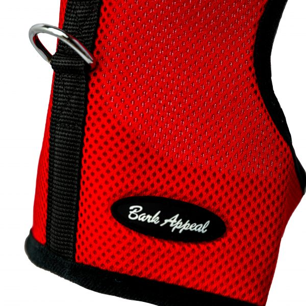 red wrap and go mesh dog harness detail