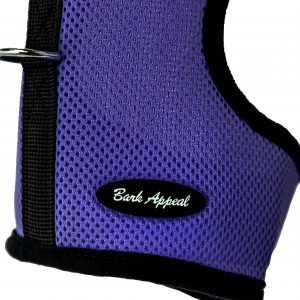 purple wrap and go mesh dog harness detail