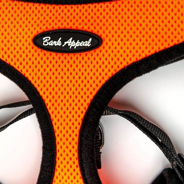 orange mesh pullover dog harness detail