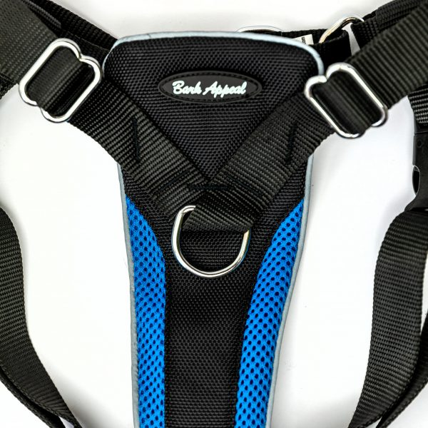 blue no pull dog harness detail