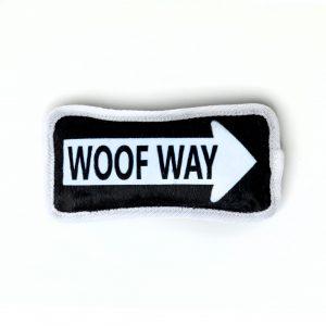 woof way street sign plush dog toy pillow