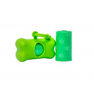 green dog waste poop bags twin pack and carrier