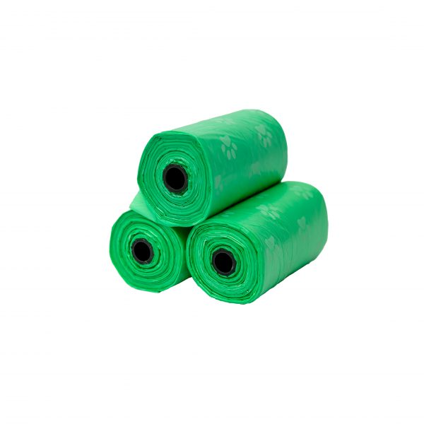 green dog waste bags poop 3 rolls