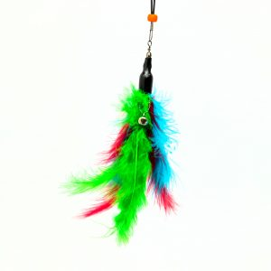 cat toy wand with feather detail