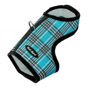 pet harness blue plaid mesh