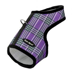 dog harness purple plaid mesh