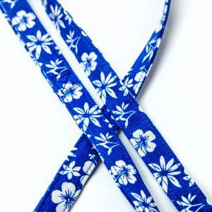 Blue Hibiscus Canvas Leash detail